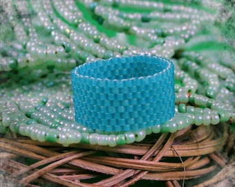 Beaded ring ,  Band ring , Hippie ring ,  Seed bead ring , Beadwoven ring , Woven bead ring , Seed bead jewelry , Minimalist Ring