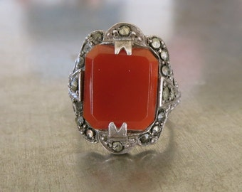 Art Deco Ring -Antique Marcasite Ring- Vintage Carnelian Ring-1920s Deco Ring-Great Gatsby Ring -Authentic Deco Ring-Genuine Art Deco Ring