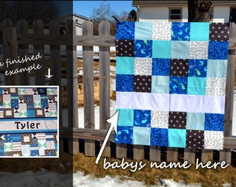 Personalized Baby Quilt for Boy, Custom Baby Quilt, Blue and Red Baby Boy Quilt, Modern Patchwork, Toddler Quilt, Baby Boy Blanket, Nautical