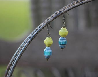 Lime and Blue Earring-Recycled Paper Earrings