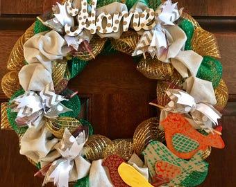 Home Wreath, birds, home, mesh ribbon wreath, whimsical, pretty, door wreath, housewarming
