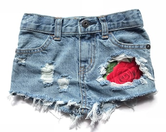 Oversize rose shorts- roses- summer-flowers- distressed denim- girls shorts
