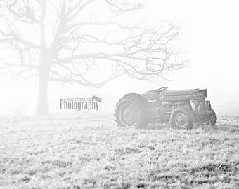 DIGITAL DOWNLOAD - Vintage Tractor w/ Fog (Black & White)