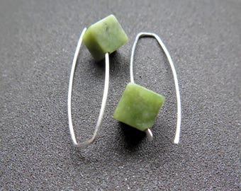 Canadian jade earrings. green jade jewelry. made in Canada. sterling silver earings.