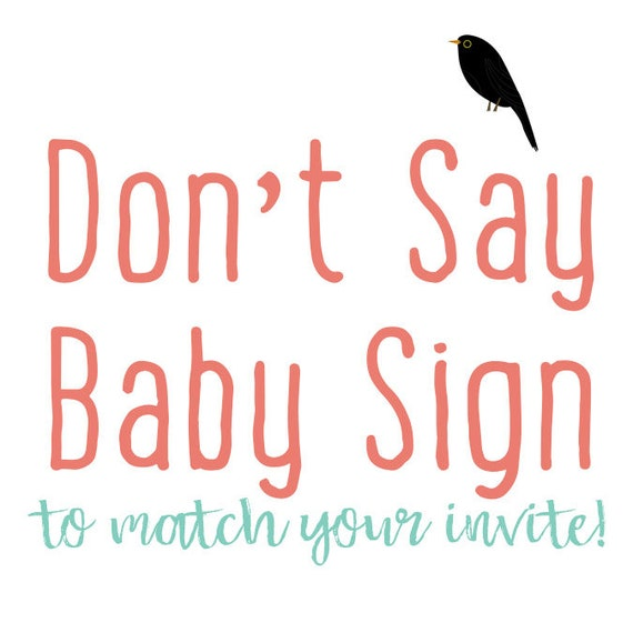 Don't Say Baby baby shower party game display sign gender reveal sprinkle sip see brunch coed couples | Katiedid Designs