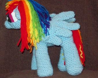 Rainbow Dash Pegasus Flying Pony Stuffed Animal Toy Crochet Horse