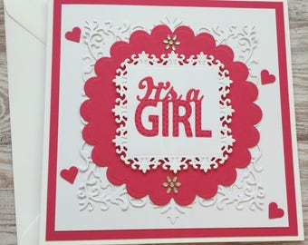 Handmade Its a Girl Card. New Baby. New arrival. Baby Girl Card. Die Cut