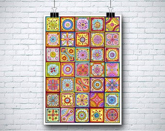 "SALE! Large Mosaic Art Print 24""x34"""