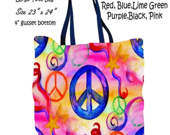 Peace sign pink multi color art double sided art printed beach bag from my artwork.