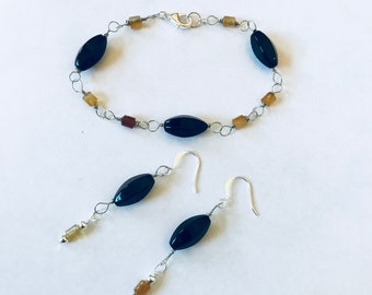 Bella Black and Red Agate Bracelet and Earring Set