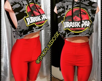 Jurassic Park Hooded Crop Top T-shirt with Red Highwaisted Bodycon Biker Shorts