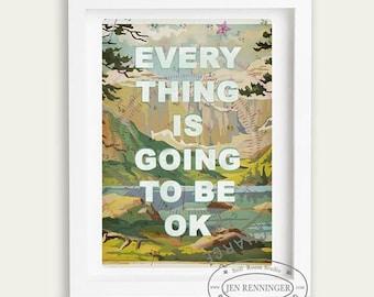 Alles wird in Ordnung sein - Wand Kunst - Typographie Drucken - Paint nach der Anzahl mit Worten - Zitate