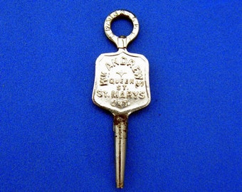 Victorian Advertising Pocket Watch Key Wm Andrews Watch Maker Jeweler Ontario, Canada Patented Sept 1st 1874