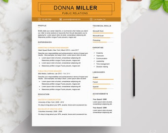 Modern Resume Template | CV Template + Cover Letter + Reference page | Professional and Creative Resume Template | Word Resume | PC & Mac