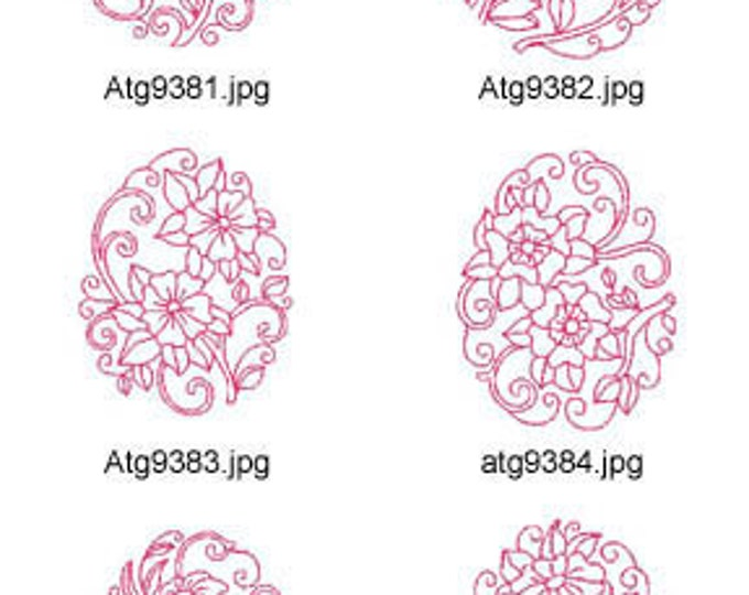 Floral-Egg-Redwork ( 10 Machine Embroidery Designs from ATW ) XYZ17C