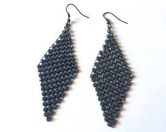 Elegant Vintage Earrings, Diamond Shape Dark Grey Dangle Earrings