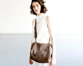 Leather Purse with Zipper, Leather Bag, Leather Handbag In Taupe, Over The Shoulder Leather Bag - Taupe Brown Kyle