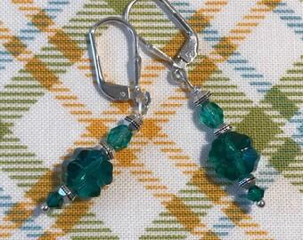 Little Green Swarovski Crystal Clover Earrings, 4-Leaf Clover Earrings, Shamrock Earrings, Irish Earrings, Celtic Jewelry, Green Earrings,