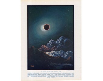 c. 1928 SOLAR ECLIPSE PRINT - original vintage astronomy print - celestial print- view of a solar eclipse viewed from the moon