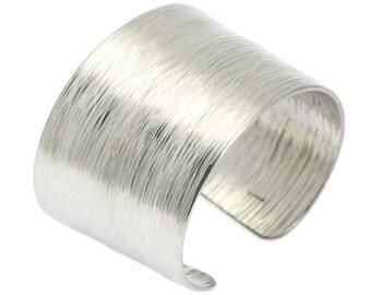 Aluminum Bark Cuff Bracelet - Silver Tone Hypoallergenic Bracelet - Makes a Beautiful 10th Wedding Anniversary Gift!