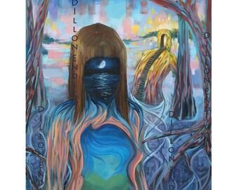 Humble Waters. Art by Dillon Endico. Canvas print of original art. Visionary art print.