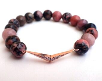 Rhodonite bracelet, Beaded bracelet , Gift for her , Healing bracelet , Gift for girlfriend , Rhodonite woman , Gift womans