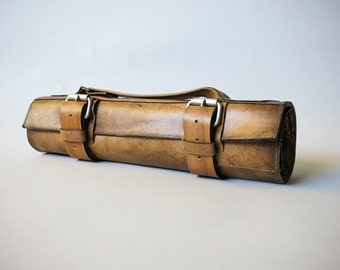 Leather Knife Roll // chef's roll by fullgive