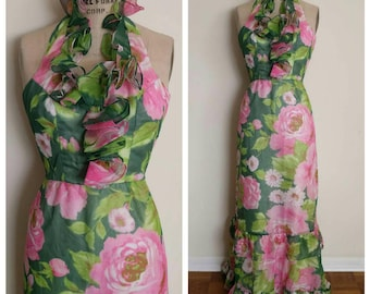 Vintage Petite 60s ruffled neckline halter floral Hawaiian summer maxi dress