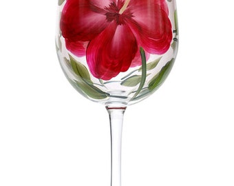 Red Hibiscus Hand-Painted Wine Glass