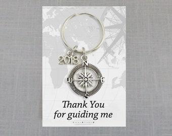Teacher Gifts, Teacher Appreciation Keychain, Fathers Day, Thank You Compass Man Teacher, Tutor Thank You Gift for Teacher, Gift for Dad