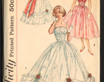 Dreamy 1957 Simplicity Dressmaking Pattern for Evening Gown and Jacket Sew Feminine FF
