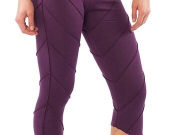 YOGA PIXIE LEGGINGS, psy trance leggings, purple festival pixie leggings, leaf leggings, yoga clothing, psytrance boho hippy leggings