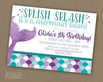 Mermaid Birthday Party Invitation, PRINTABLE Invitation, Under the Sea Party, Mermaid Invitation