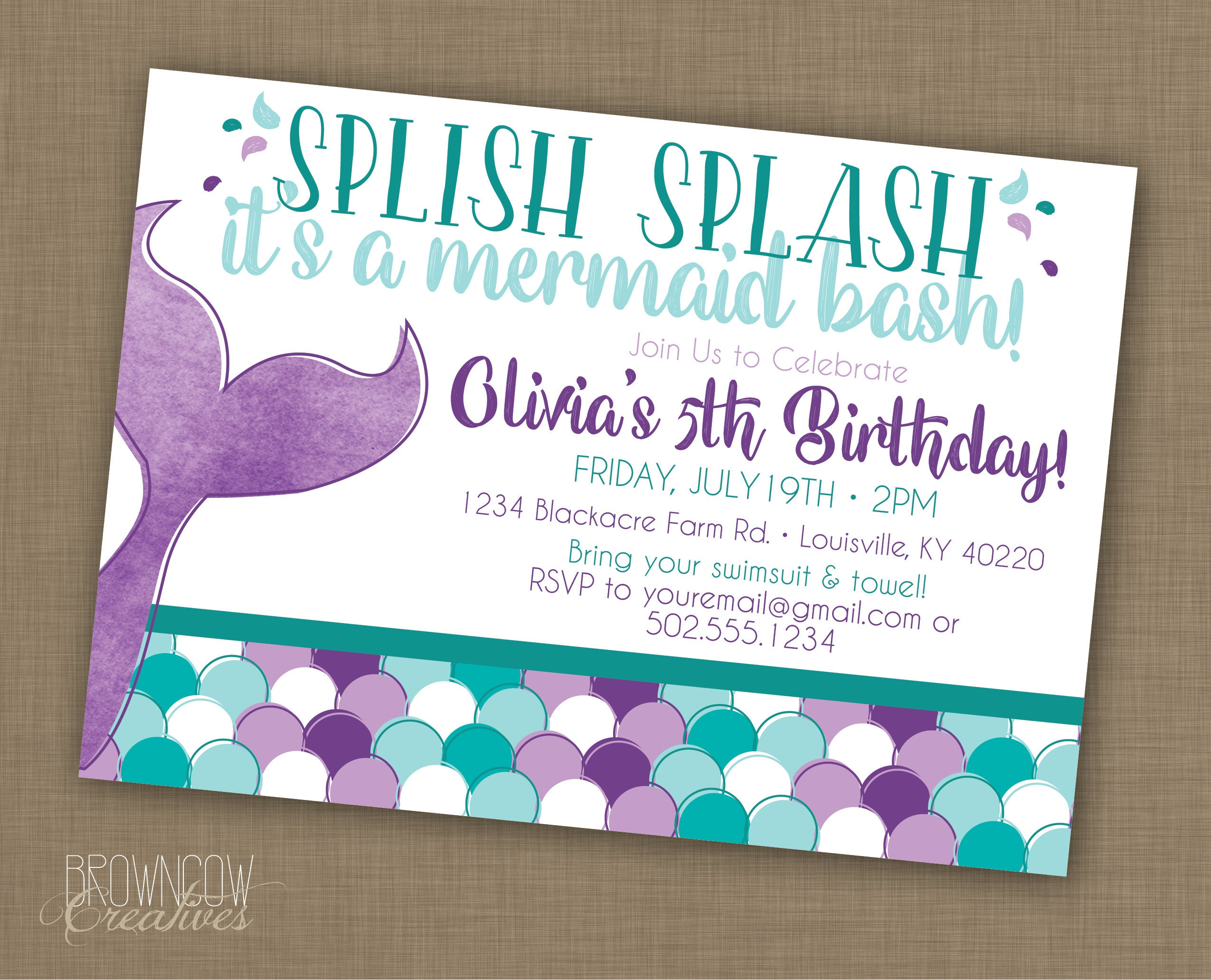 Wild image regarding mermaid birthday invitations free printable