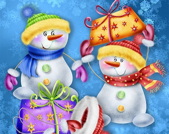 Snowman Winter Clipart | Commercial Use| Illustrations| Instant Download