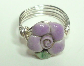 Purple Green Flower Silver Plate Handmade Wire Wrapped Ring Sizes 1-14