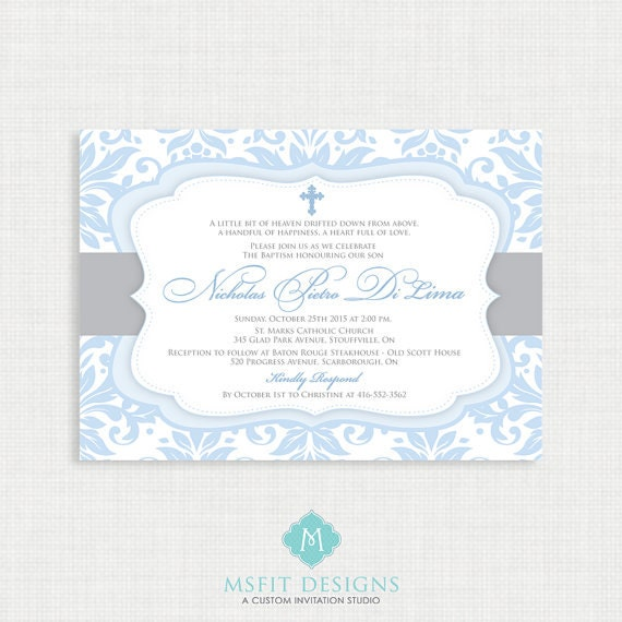 Printable Baptism Invitation- Boys Baptism Invitation - Baby Dedication, First Communion, Confirmation, Christening - Printable template