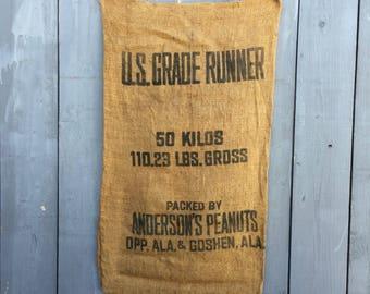 Vintage Anderson's Peanuts Burlap Sack; Burlap Sack; Peanuts Sack; Burlap Bag; Vintage Burlap Sack; Anderson's Peanuts