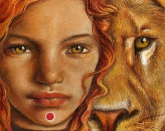Fear-Free -  surreal pop fantasy art portrait lion girl 5x7 print of original painting by Tanya Bond