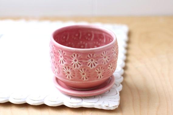 pink succulent planter // cactus planter // succulent pot // ceramic pot // flower pot