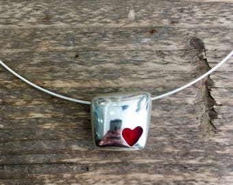 Sterling Silver Square Heart Pendant