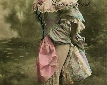 Painted  Lady *Moulin Rouge*Tinted real photo*Vintage style*Gorgeous* instant  digital down*tags,sewing,pillows,sachets,altered art