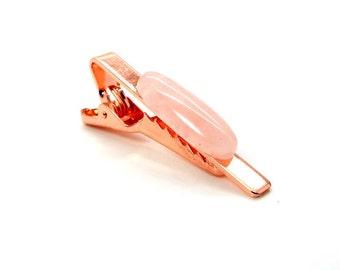 Sweet Paradise Rose Gold and Rose Quartz Tie Clip – Pink Tie Clip - Rose Quartz Tie Clip