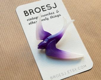 Vintage Swallow Brooch Purple Plastic Bird Pin