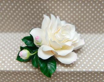Gardenia, Bridal hair flower, Floral head piece, hair flower, wedding hair flowers, Flower comb