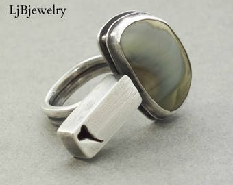 Silver Imperial Jasper Ring, Silver Ring, Jasper, Metalsmith, Metalwork, Artisan Jewelry, Handmade Jewelry, Silver Jewelry, Statement Ring