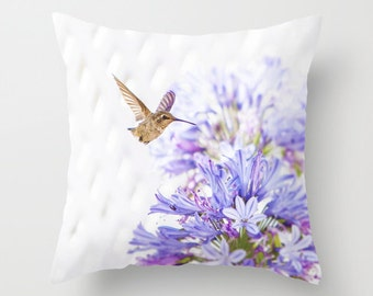 Humming Bird Pillow - Bird Pillow - Bird Photography - Pretty Pillow - Purple Throw Pillow - Hummingbird 16x16 18x18 20x20 Pillow Cover