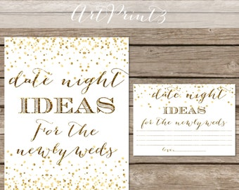 Date Night Ideas, Printable Bridal Shower Date Night Idea Cards Sign, Gold Confetti Bridal Shower Activity, Date Night Idea Printable