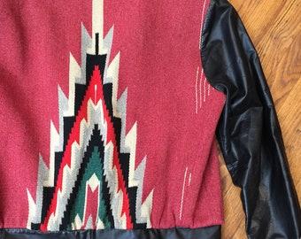 Vintage CHIMAYO JACKET Manuel Couture Tailored serape Wool and leather western jacket Southwestern Santa Fe Wool coat VLV Rockabilly Serape