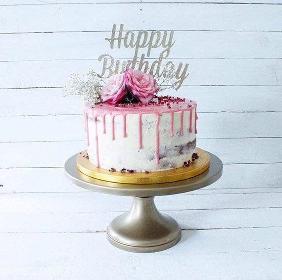 Silver happy birthday cake topper fancy cake topper1st